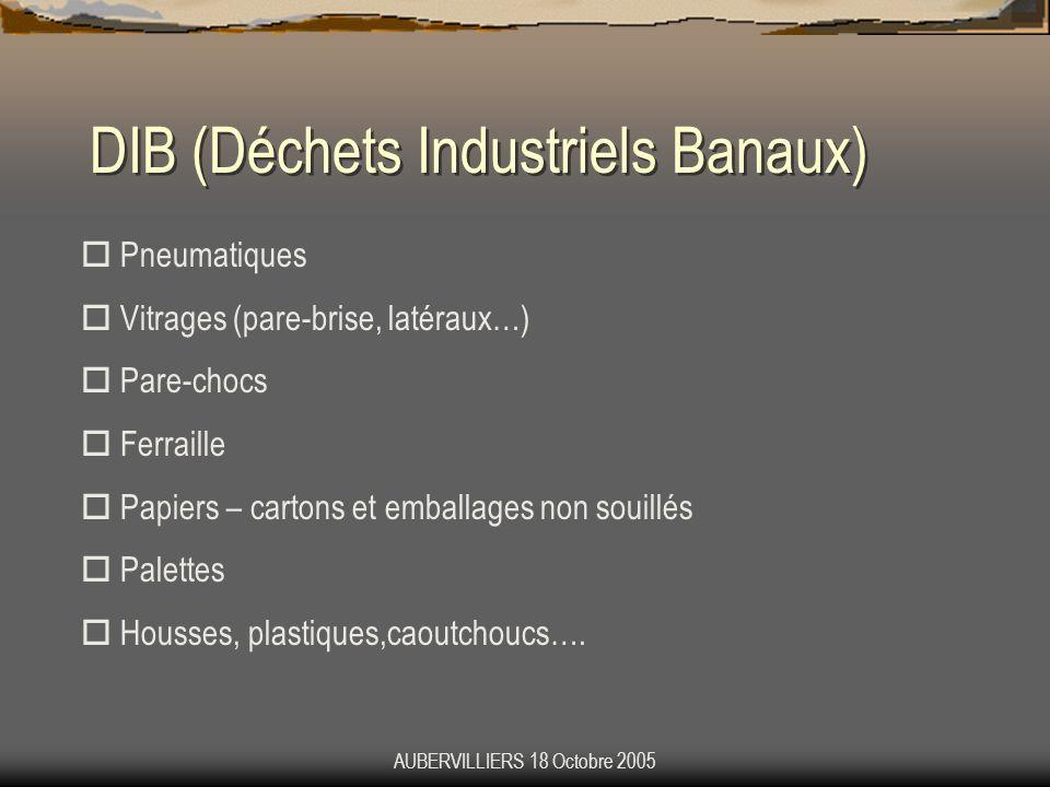 AUBERVILLIERS 18 Octobre 2005 DIB (Déchets Industriels Banaux) Pneumatiques Vitrages (pare-brise, latéraux…) Pare-chocs Ferraille Papiers – cartons et