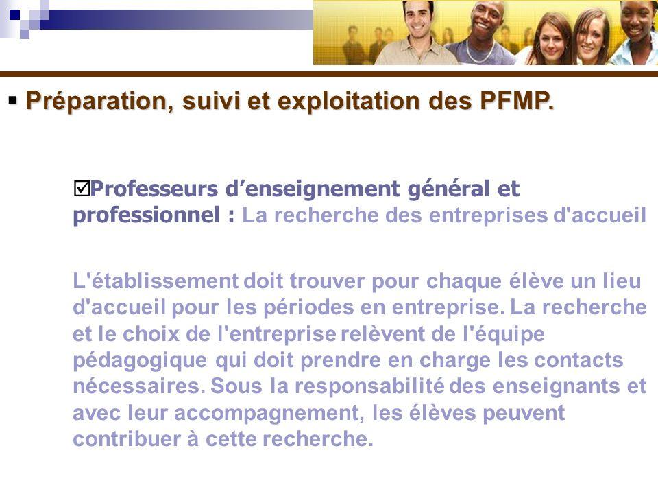 Préparation, suivi et exploitation des PFMP. Préparation, suivi et exploitation des PFMP. Professeurs denseignement général et professionnel : La rech