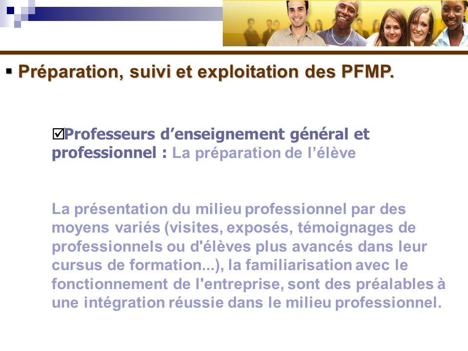 Préparation, suivi et exploitation des PFMP. Préparation, suivi et exploitation des PFMP. Professeurs denseignement général et professionnel : La prép