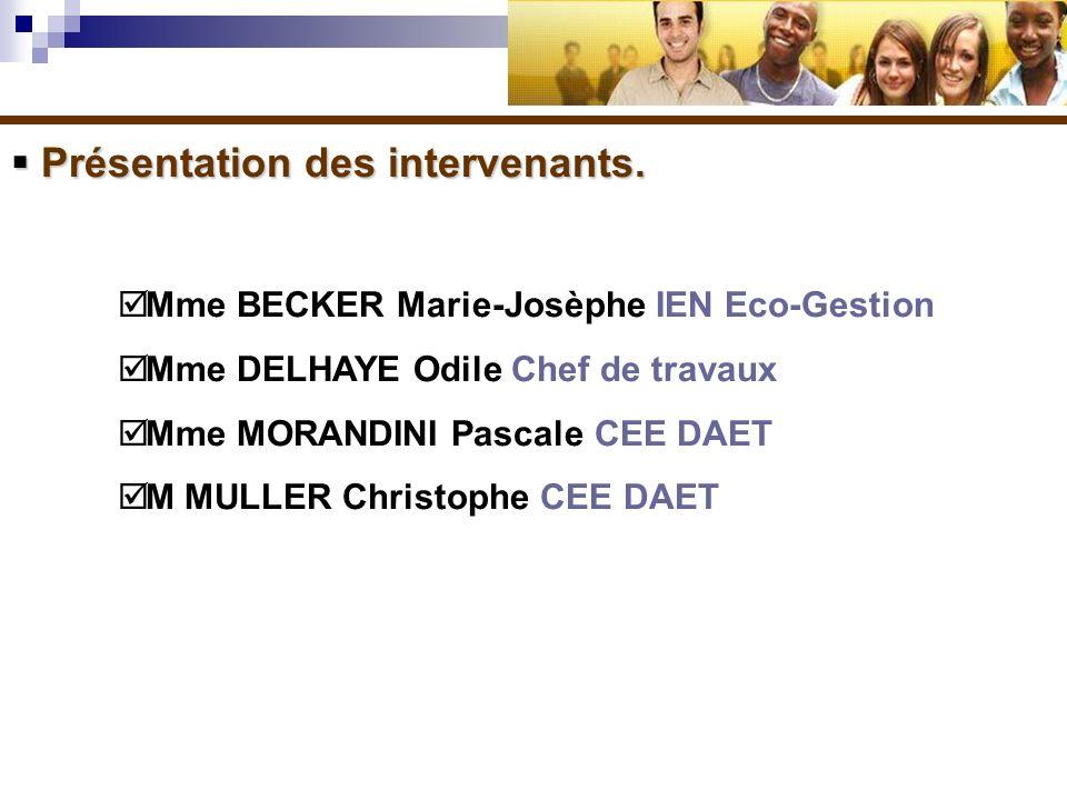 Présentation des intervenants. Présentation des intervenants. Mme BECKER Marie-Josèphe IEN Eco-Gestion Mme DELHAYE Odile Chef de travaux Mme MORANDINI