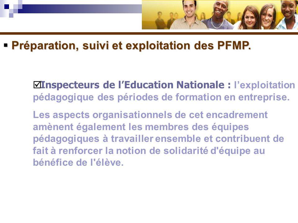 Préparation, suivi et exploitation des PFMP. Préparation, suivi et exploitation des PFMP. Inspecteurs de lEducation Nationale : lexploitation pédagogi