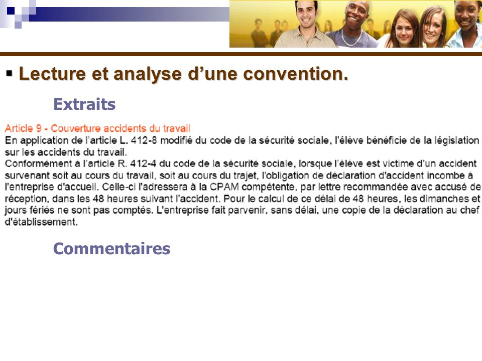 Lecture et analyse dune convention. Lecture et analyse dune convention. Extraits Commentaires