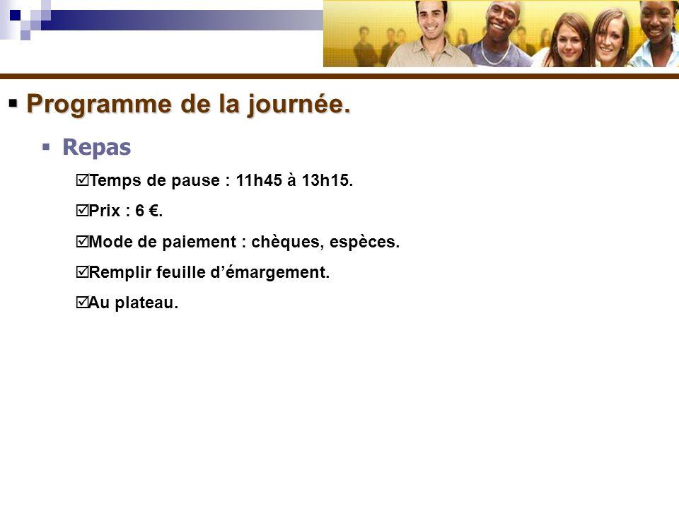 Programme de la journée.Programme de la journée. Repas Temps de pause : 11h45 à 13h15.