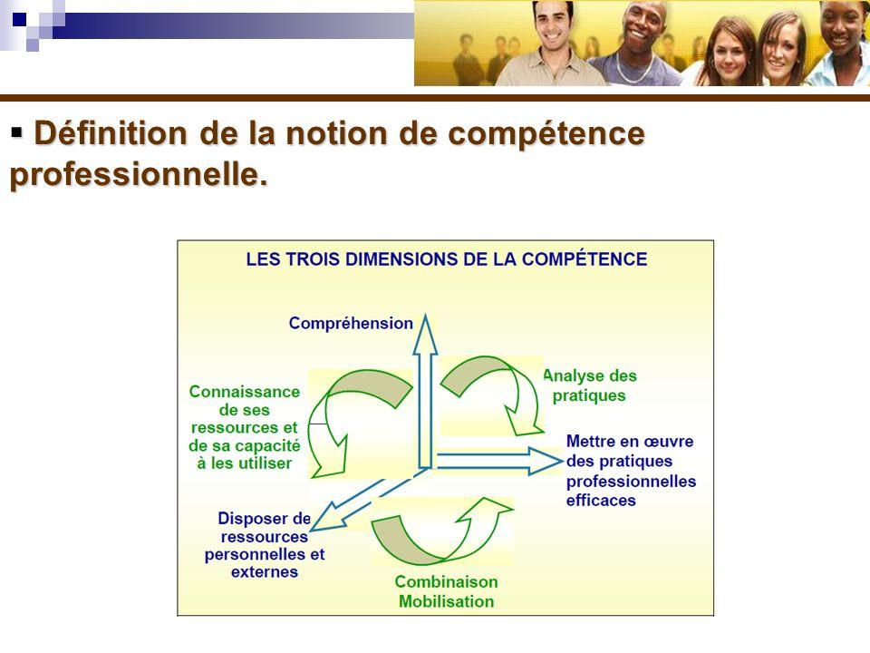 Définition de la notion de compétence professionnelle. Définition de la notion de compétence professionnelle.