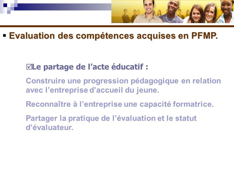 Evaluation des compétences acquises en PFMP. Evaluation des compétences acquises en PFMP. Le partage de lacte éducatif : Construire une progression pé