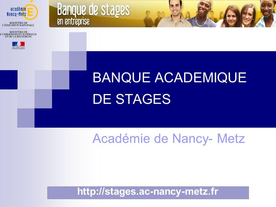 BANQUE ACADEMIQUE DE STAGES Académie de Nancy- Metz http://stages.ac-nancy-metz.fr
