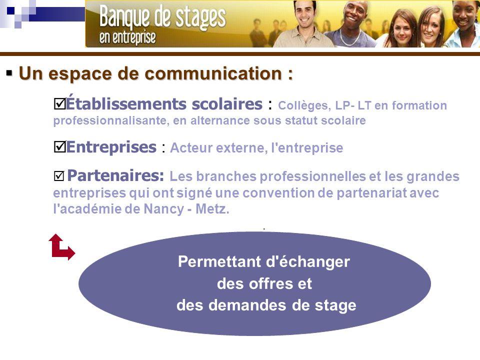 Un espace de communication : Un espace de communication : Établissements scolaires : Collèges, LP- LT en formation professionnalisante, en alternance