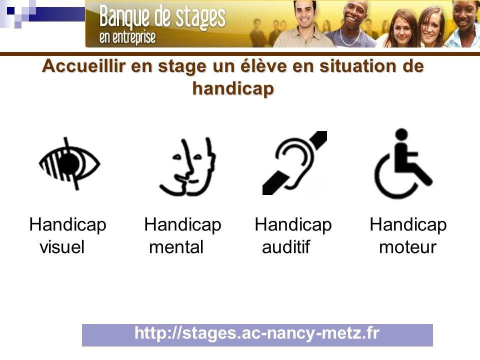 Accueillir en stage un élève en situation de handicap http://stages.ac-nancy-metz.fr Handicap Handicap Handicap Handicap visuel mental auditif moteur