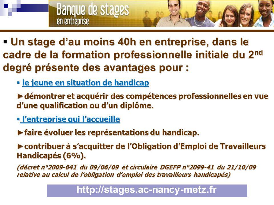 Un stage dau moins 40h en entreprise, dans le cadre de la formation professionnelle initiale du 2 nd degré présente des avantages pour : Un stage dau