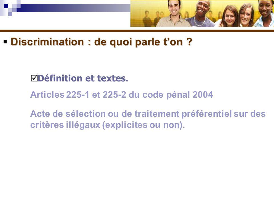 Discrimination : de quoi parle ton ? Discrimination : de quoi parle ton ? Définition et textes. Articles 225-1 et 225-2 du code pénal 2004 Acte de sél