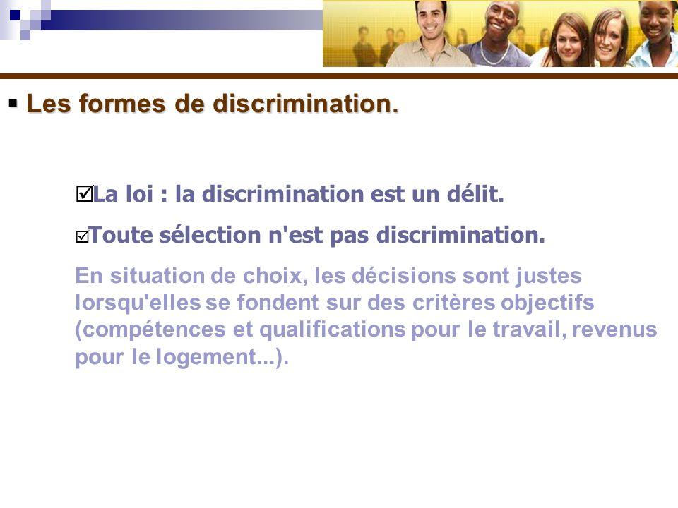Les formes de discrimination. Les formes de discrimination. La loi : la discrimination est un délit. Toute sélection n'est pas discrimination. En situ