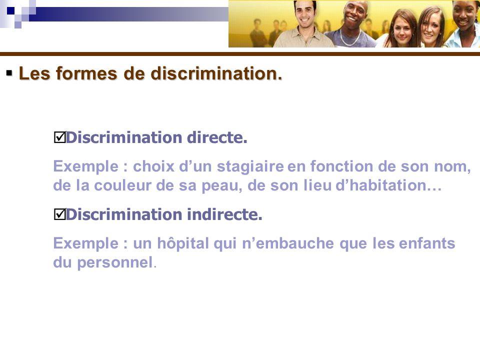 Les formes de discrimination. Les formes de discrimination. Discrimination directe. Exemple : choix dun stagiaire en fonction de son nom, de la couleu