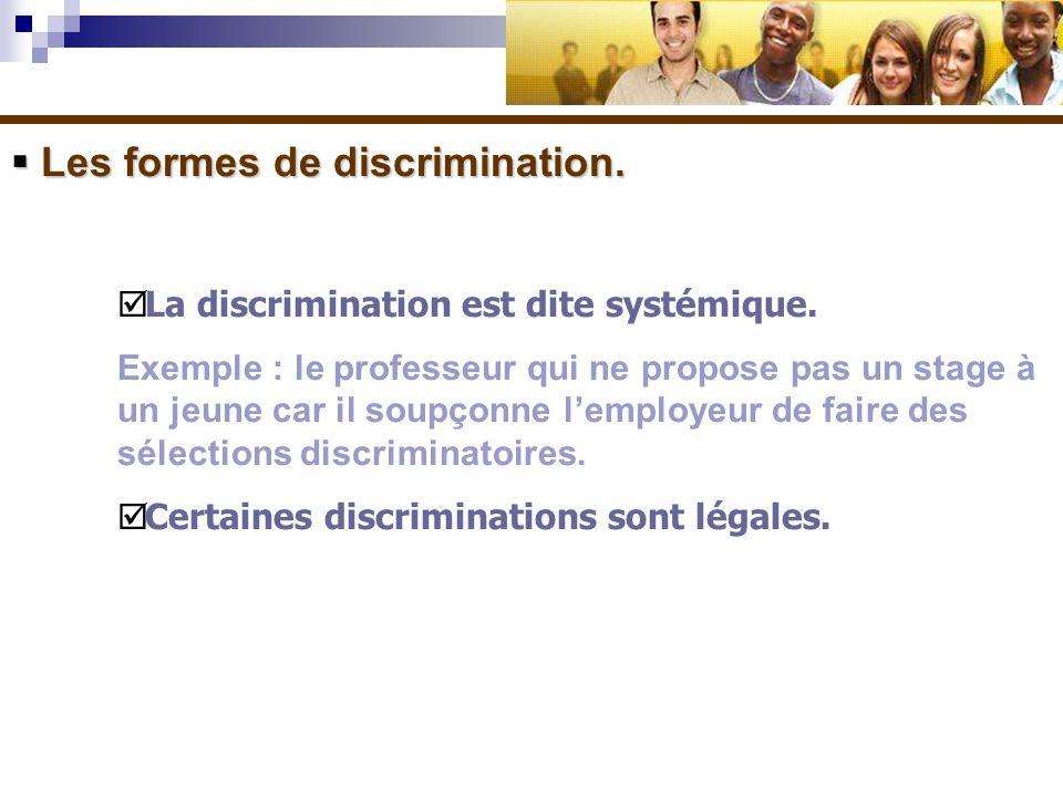 Les formes de discrimination. Les formes de discrimination. La discrimination est dite systémique. Exemple : le professeur qui ne propose pas un stage