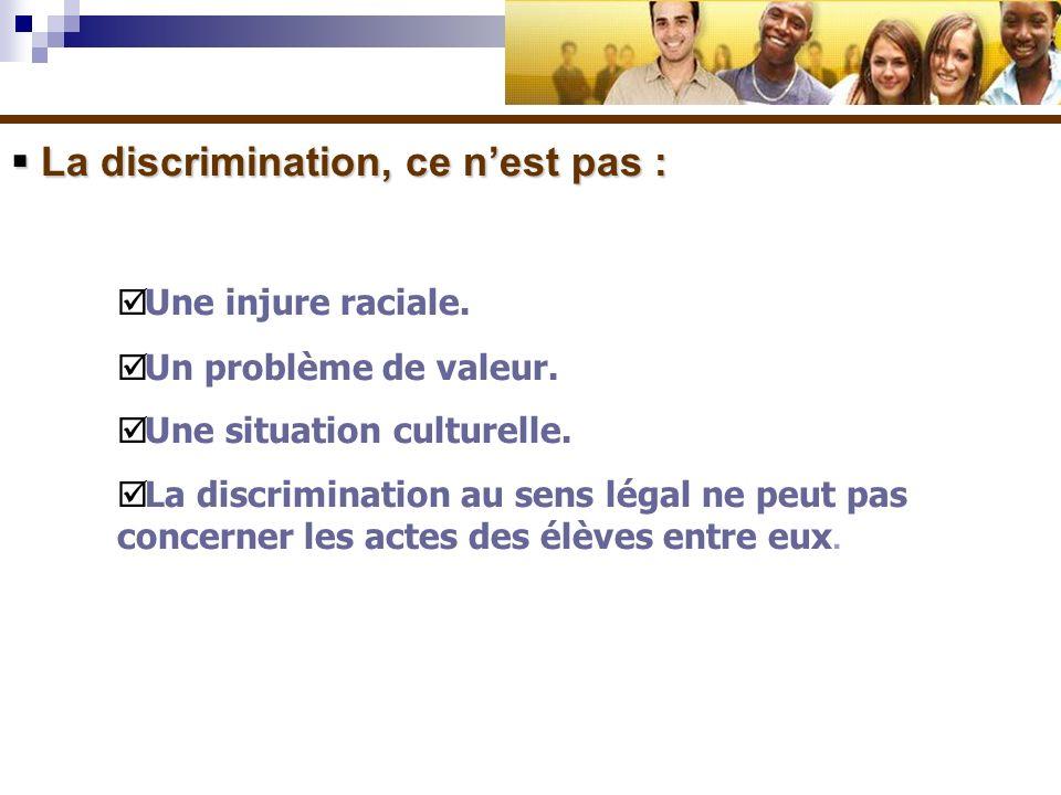 La discrimination, ce nest pas : La discrimination, ce nest pas : Une injure raciale. Un problème de valeur. Une situation culturelle. La discriminati