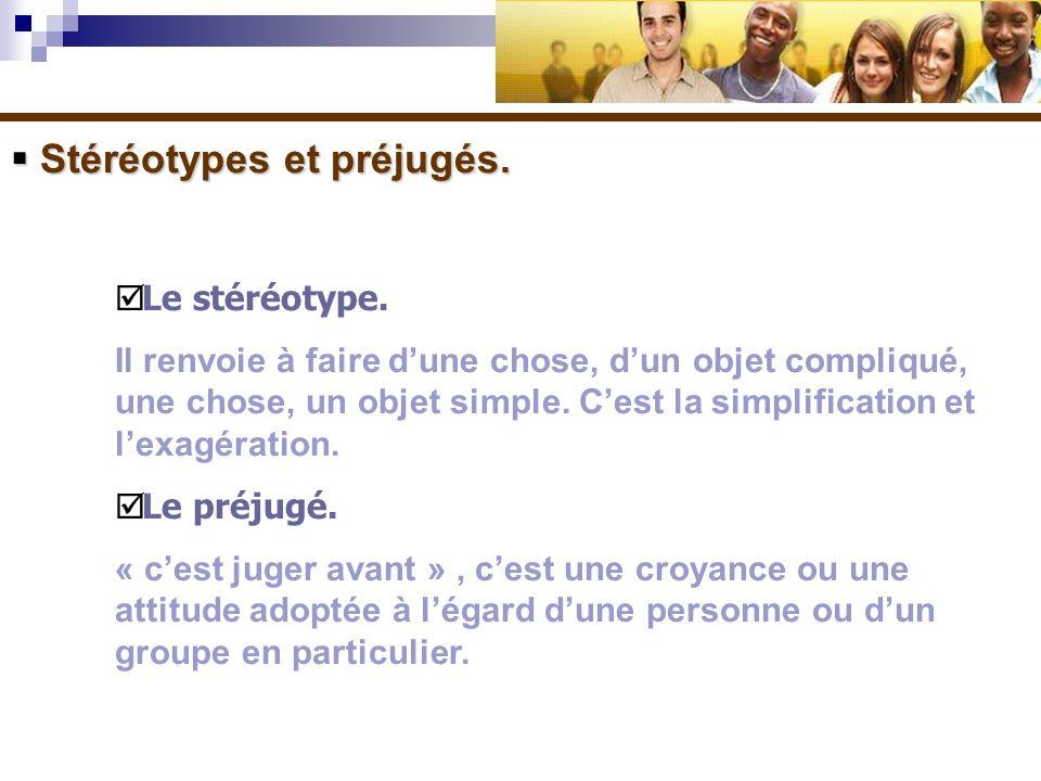 Stéréotypes et préjugés.Stéréotypes et préjugés. Le stéréotype.