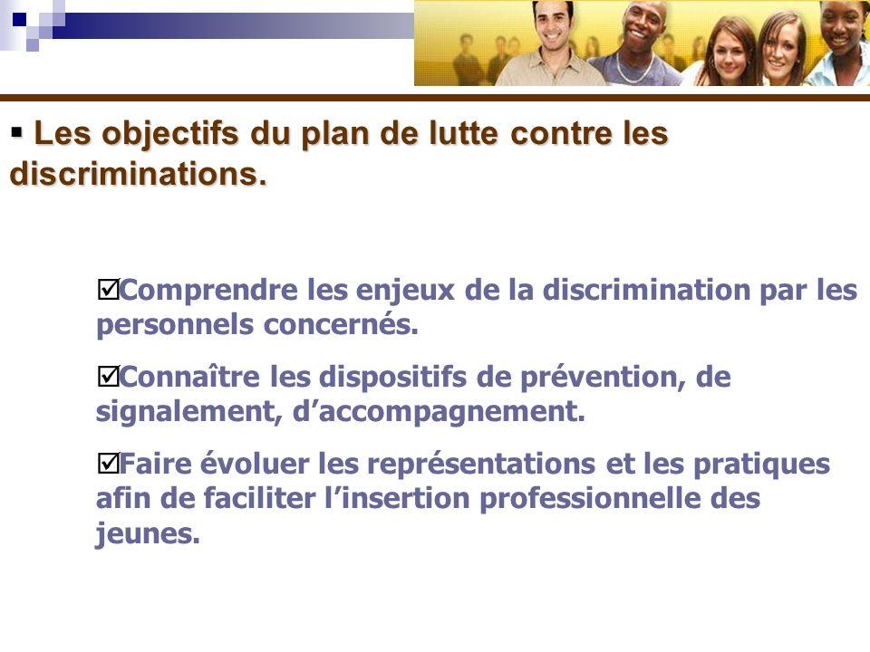 Les objectifs du plan de lutte contre les discriminations. Les objectifs du plan de lutte contre les discriminations. Comprendre les enjeux de la disc
