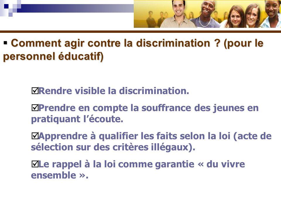 Comment agir contre la discrimination ? (pour le personnel éducatif) Comment agir contre la discrimination ? (pour le personnel éducatif) Rendre visib