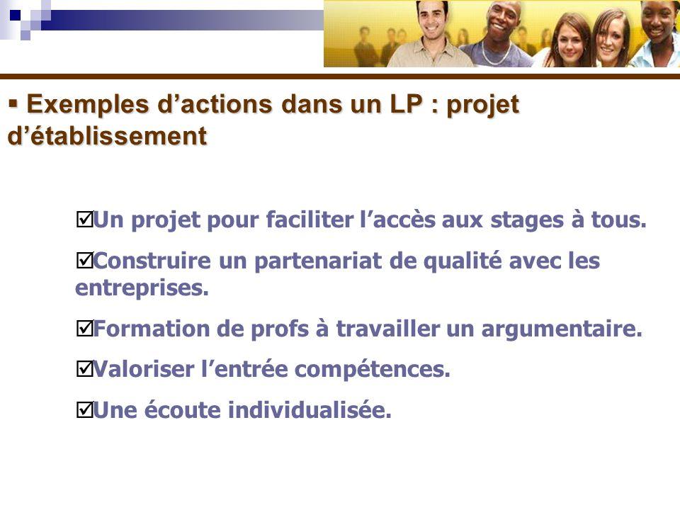 Exemples dactions dans un LP : projet détablissement Exemples dactions dans un LP : projet détablissement Un projet pour faciliter laccès aux stages à tous.