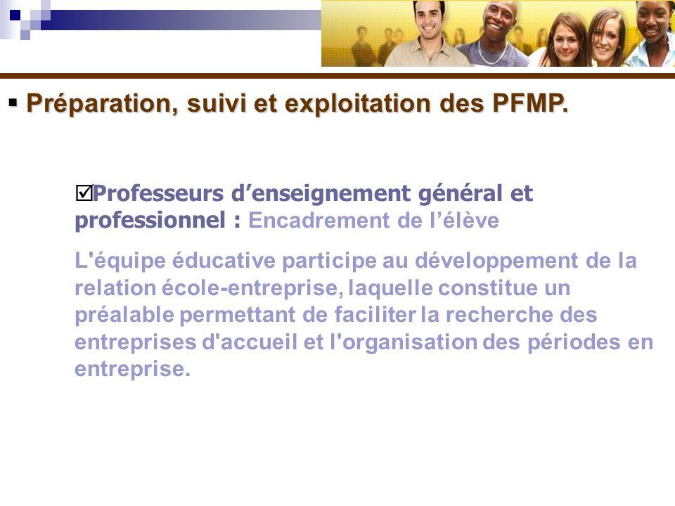 Préparation, suivi et exploitation des PFMP. Préparation, suivi et exploitation des PFMP. Professeurs denseignement général et professionnel : Encadre