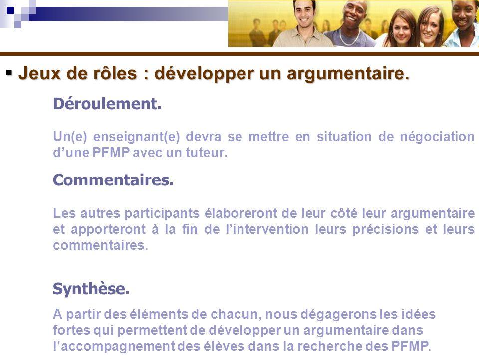 Jeux de rôles : développer un argumentaire. Jeux de rôles : développer un argumentaire. Déroulement. Un(e) enseignant(e) devra se mettre en situation