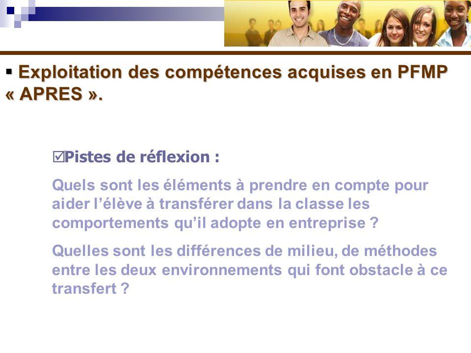 Exploitation des compétences acquises en PFMP « APRES ». Exploitation des compétences acquises en PFMP « APRES ». Pistes de réflexion : Quels sont les