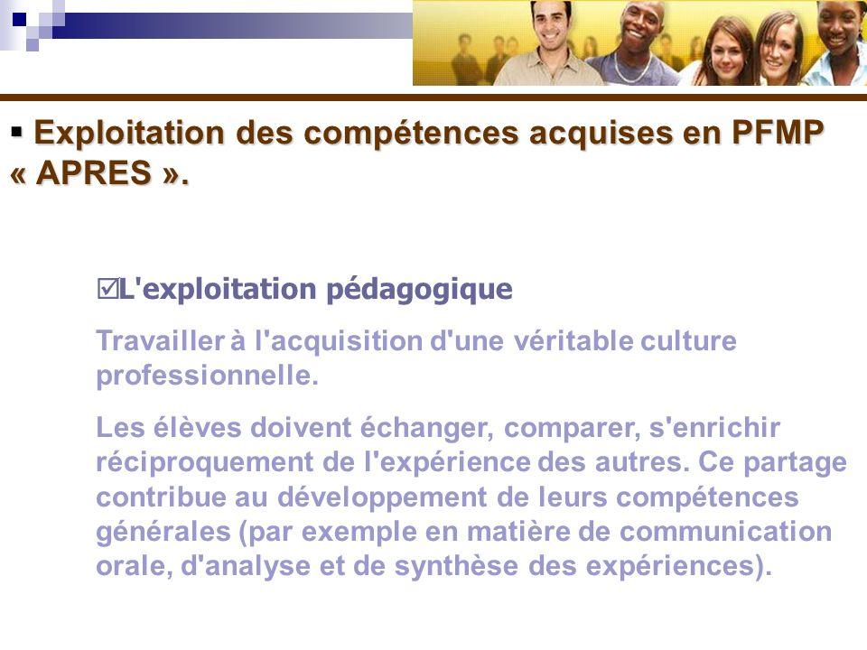 Exploitation des compétences acquises en PFMP « APRES ». Exploitation des compétences acquises en PFMP « APRES ». L'exploitation pédagogique Travaille