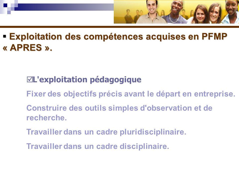 Exploitation des compétences acquises en PFMP « APRES ». Exploitation des compétences acquises en PFMP « APRES ». L'exploitation pédagogique Fixer des