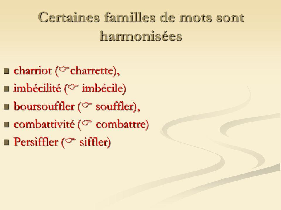 Certaines familles de mots sont harmonisées charriot ( charrette), charriot ( charrette), imbécilité ( imbécile) imbécilité ( imbécile) boursouffler ( souffler), boursouffler ( souffler), combattivité ( combattre) combattivité ( combattre) Persiffler ( siffler) Persiffler ( siffler)