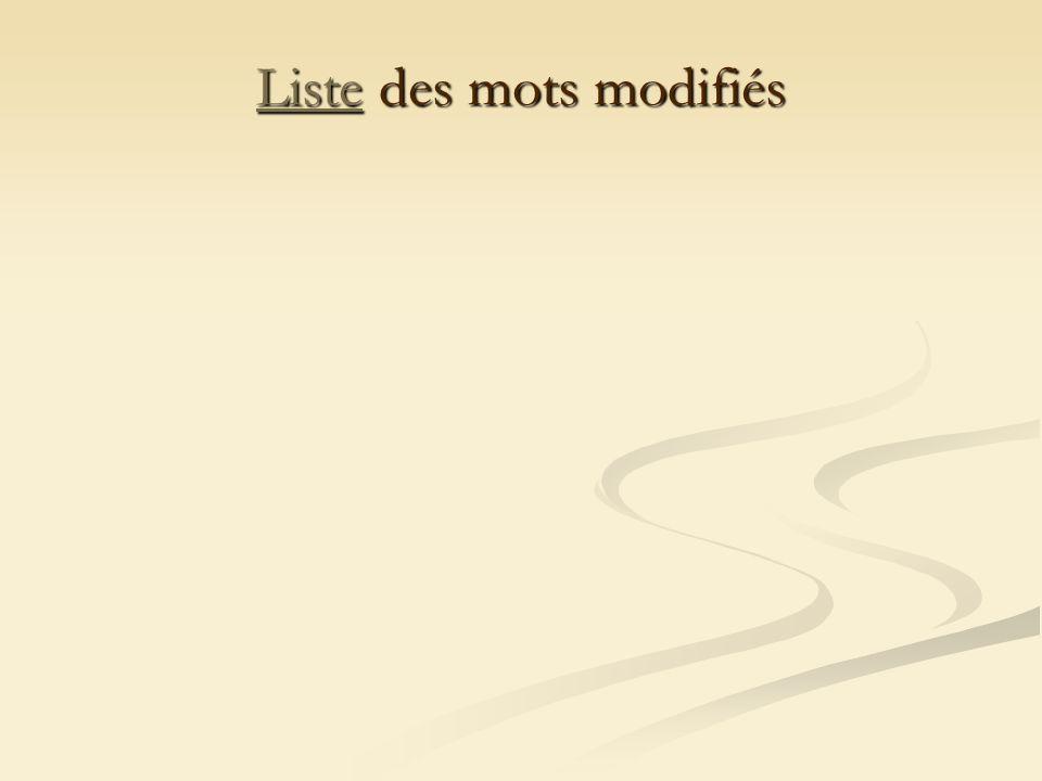 ListeListe des mots modifiés Liste