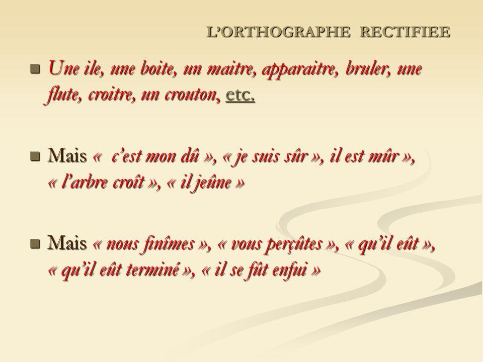 LORTHOGRAPHE RECTIFIEE Une ile, une boite, un maitre, apparaitre, bruler, une flute, croitre, un crouton, etc.