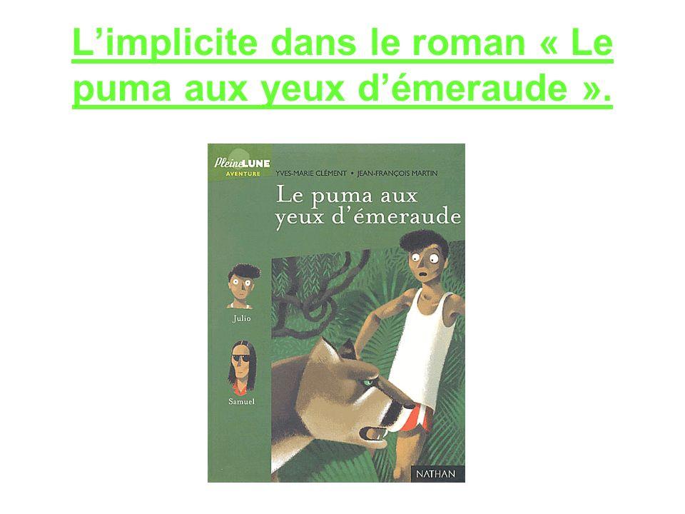Limplicite dans le roman « Le puma aux yeux démeraude ».