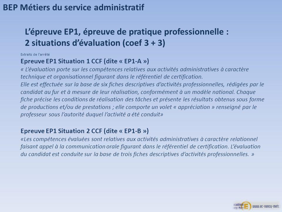 BEP Métiers du service administratif Lépreuve EP1, épreuve de pratique professionnelle : 2 situations dévaluation (coef 3 + 3) Extraits de larrêté Epr