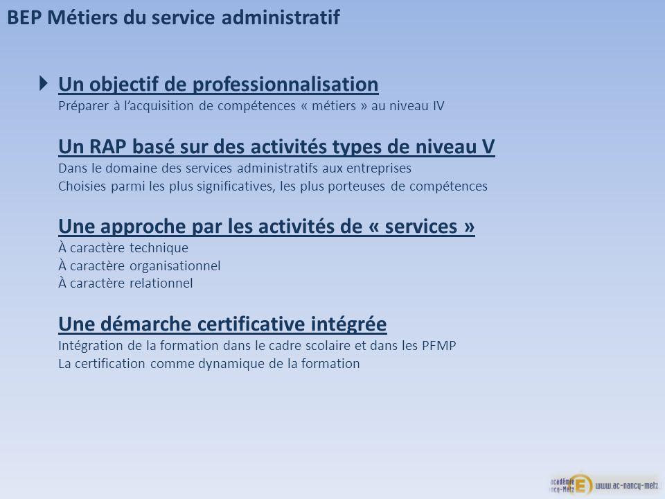 Un objectif de professionnalisation Préparer à lacquisition de compétences « métiers » au niveau IV Un RAP basé sur des activités types de niveau V Da