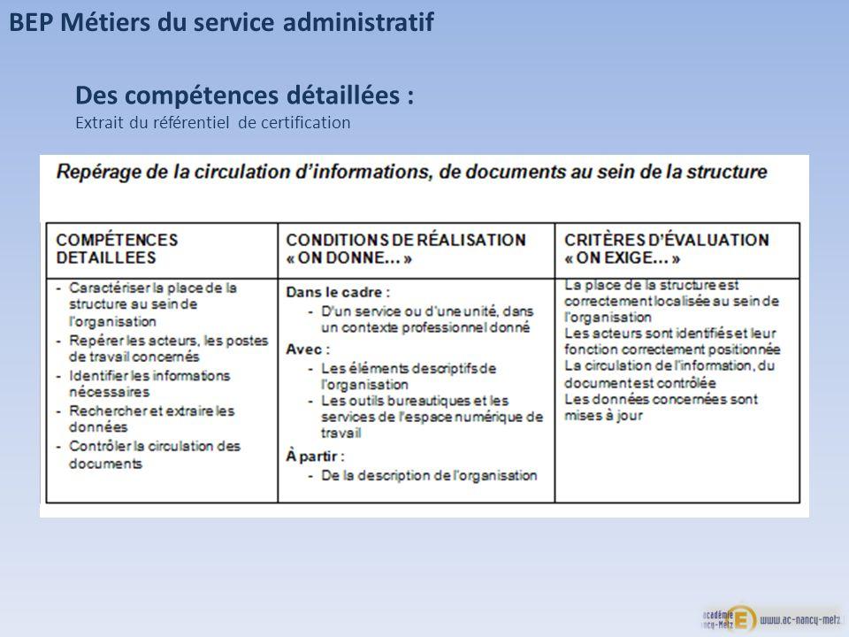BEP Métiers du service administratif Des compétences détaillées : Extrait du référentiel de certification