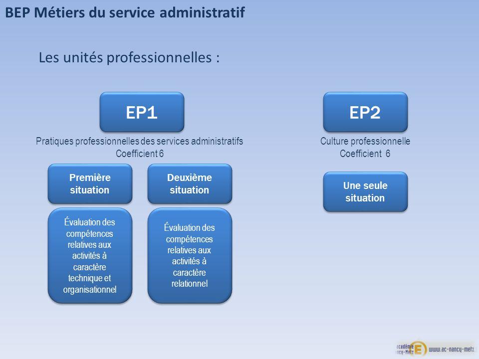 BEP Métiers du service administratif EP1 Pratiques professionnelles des services administratifs Coefficient 6 Première situation Première situation De