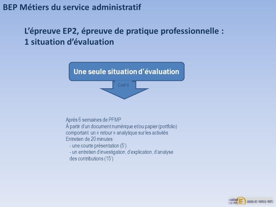 BEP Métiers du service administratif Lépreuve EP2, épreuve de pratique professionnelle : 1 situation dévaluation Une seule situation dévaluation Coef