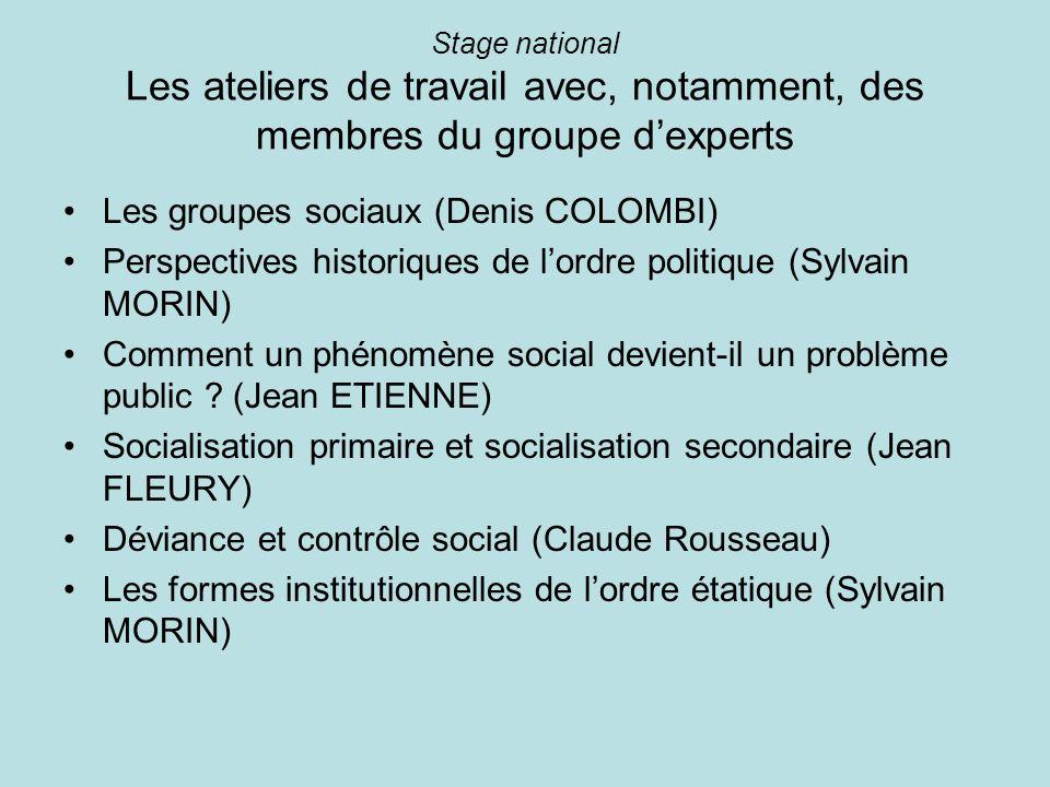 Stage national Les ateliers de travail avec, notamment, des membres du groupe dexperts Les groupes sociaux (Denis COLOMBI) Perspectives historiques de