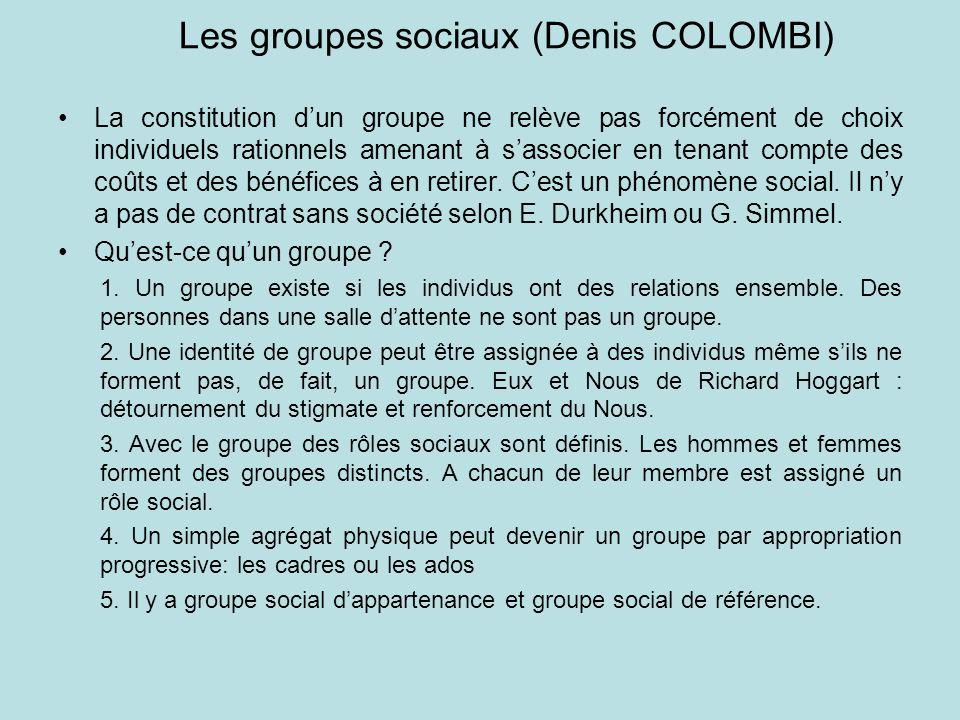 Les groupes sociaux (Denis COLOMBI) La constitution dun groupe ne relève pas forcément de choix individuels rationnels amenant à sassocier en tenant c