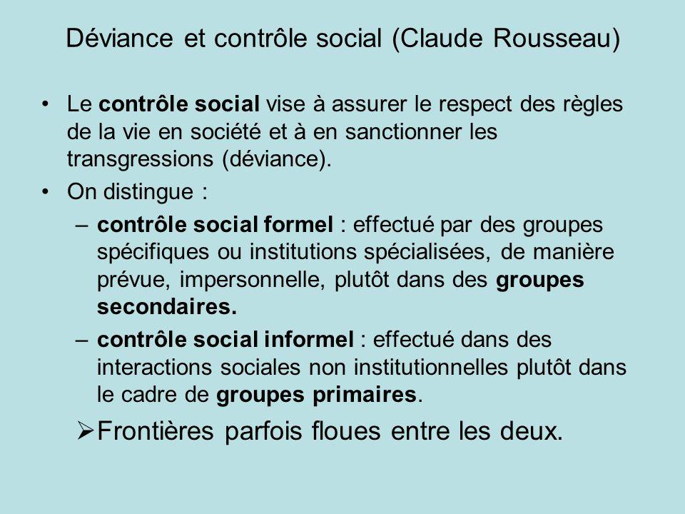 Déviance et contrôle social (Claude Rousseau) Le contrôle social vise à assurer le respect des règles de la vie en société et à en sanctionner les tra