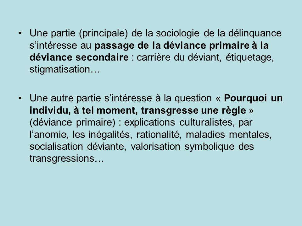 Une partie (principale) de la sociologie de la délinquance sintéresse au passage de la déviance primaire à la déviance secondaire : carrière du dévian