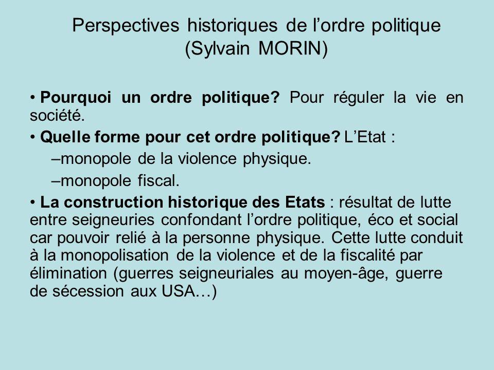 Perspectives historiques de lordre politique (Sylvain MORIN) Pourquoi un ordre politique? Pour réguler la vie en société. Quelle forme pour cet ordre