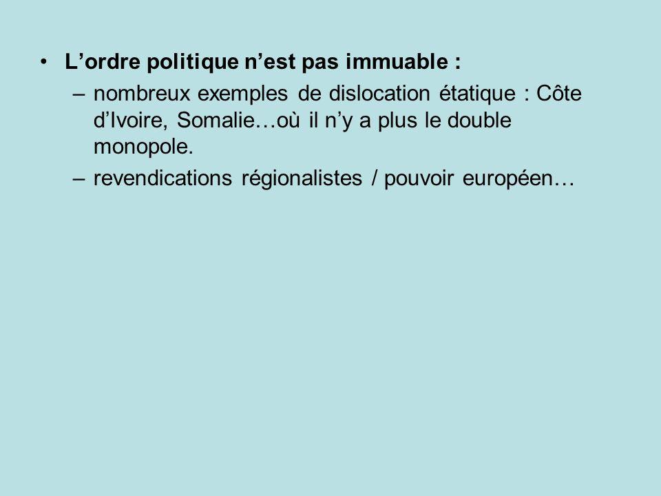 Lordre politique nest pas immuable : –nombreux exemples de dislocation étatique : Côte dIvoire, Somalie…où il ny a plus le double monopole. –revendica