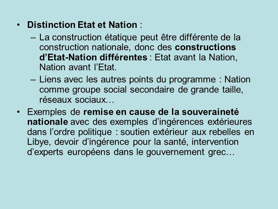 Distinction Etat et Nation : –La construction étatique peut être différente de la construction nationale, donc des constructions dEtat-Nation différen
