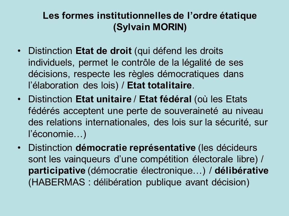 Les formes institutionnelles de lordre étatique (Sylvain MORIN) Distinction Etat de droit (qui défend les droits individuels, permet le contrôle de la