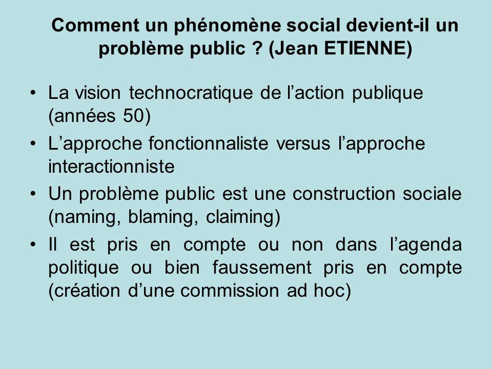 Comment un phénomène social devient-il un problème public ? (Jean ETIENNE) La vision technocratique de laction publique (années 50) Lapproche fonction