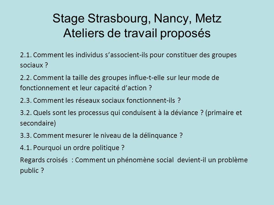 Stage Strasbourg, Nancy, Metz Ateliers de travail proposés 2.1. Comment les individus sassocient-ils pour constituer des groupes sociaux ? 2.2. Commen
