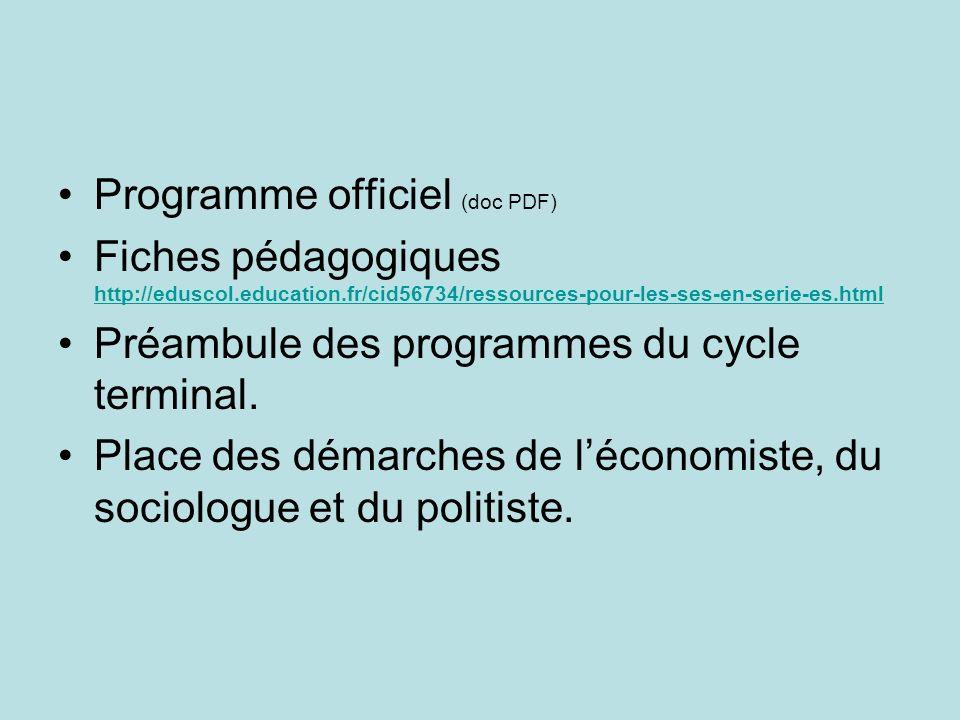 Programme officiel (doc PDF) Fiches pédagogiques http://eduscol.education.fr/cid56734/ressources-pour-les-ses-en-serie-es.html http://eduscol.educatio
