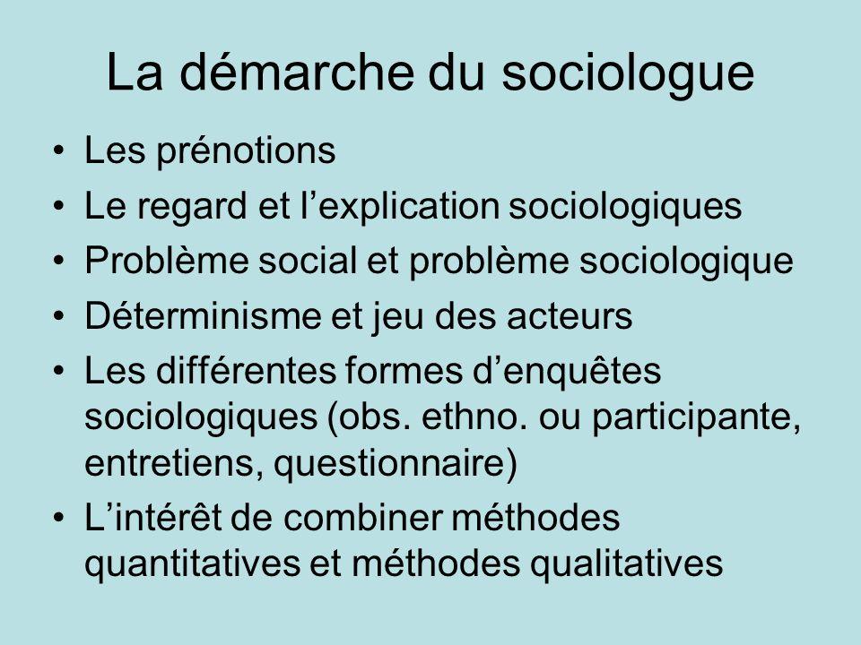 La démarche du sociologue Les prénotions Le regard et lexplication sociologiques Problème social et problème sociologique Déterminisme et jeu des acte