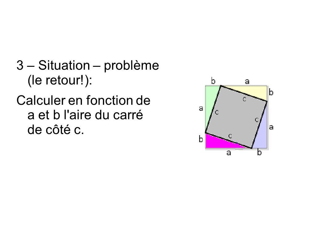 3 – Situation – problème (le retour!): Calculer en fonction de a et b l aire du carré de côté c.