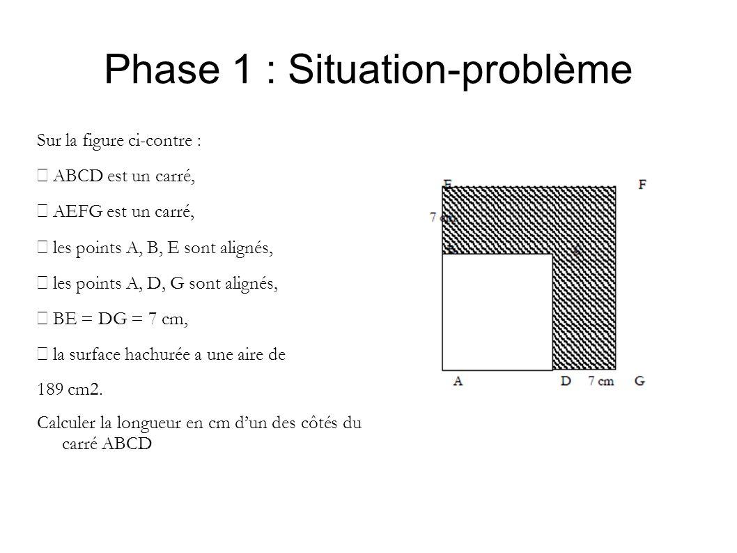 Phase 1 : Situation-problème Sur la figure ci-contre : ABCD est un carré, AEFG est un carré, les points A, B, E sont alignés, les points A, D, G sont alignés, BE = DG = 7 cm, la surface hachurée a une aire de 189 cm2.